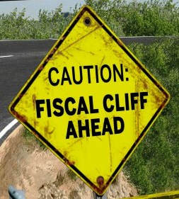 road sign for fiscal cliff ahead