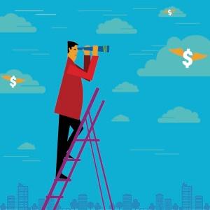 man on ladder watching money
